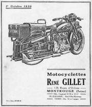 Publicité René Gillet 1930