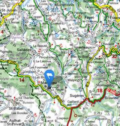 Carte des environs de Manglieu