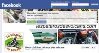 page accueil facebook des Pétaros des Volcans