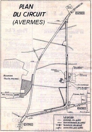 Plan du supposé circuit d'Avermes