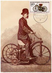 Le timbre de la première moto