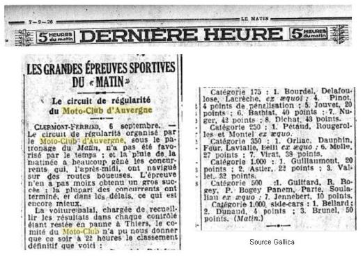 Article journal Le Matin 1926