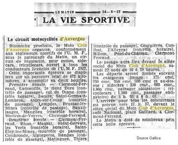 Journal Le Matin août 1927