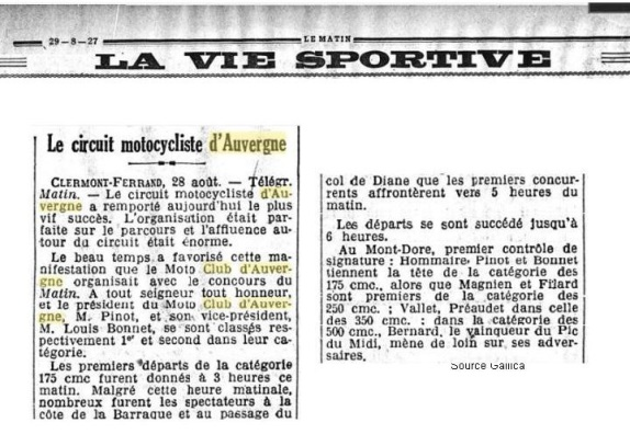 Journal Le Matin du 29 août 1927