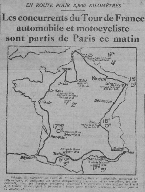 Annonce du tour de France automobile et motocycliste 1924