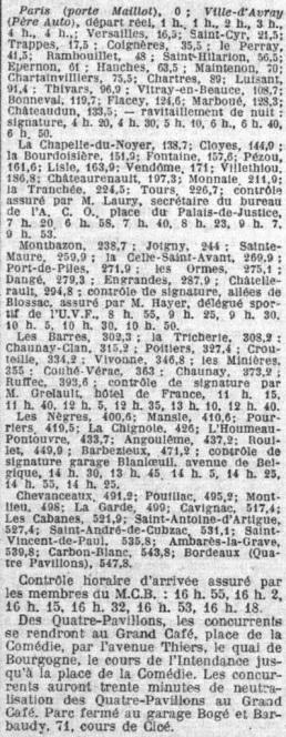 Le détail de la premère étape de 1926