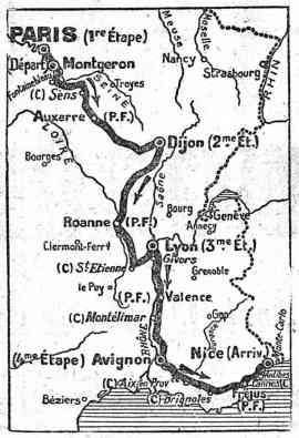 Le parcours de Paris-Nice 1921