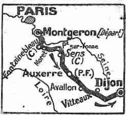 Parcours de la première étape Paris-Dijon