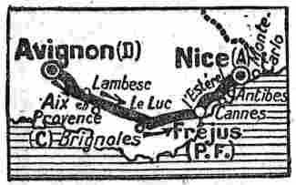 Parcours de la dernière étape Avignon-Nice