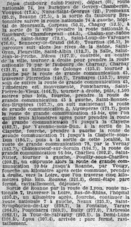 Itinéraire étape 2 Paris-Nice 1923
