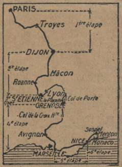 Carte Paris-Nice 1926